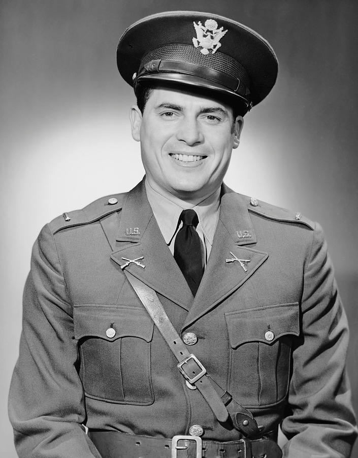 Adult Photograph - Portrait Of Man In Uniform by George Marks