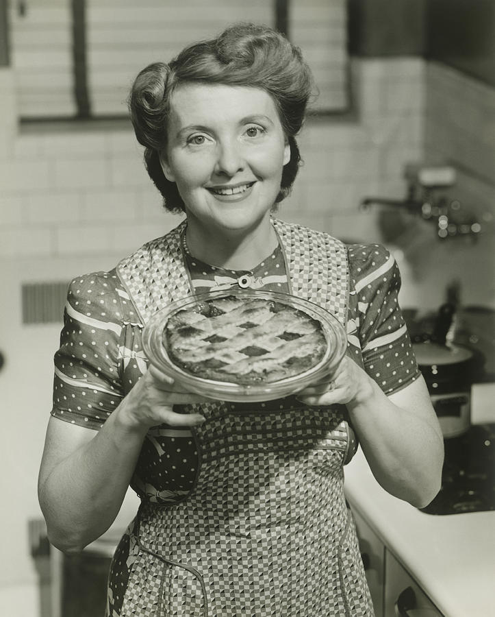 Adult Photograph - Portrait Of Mature Woman Holding Pie by George Marks