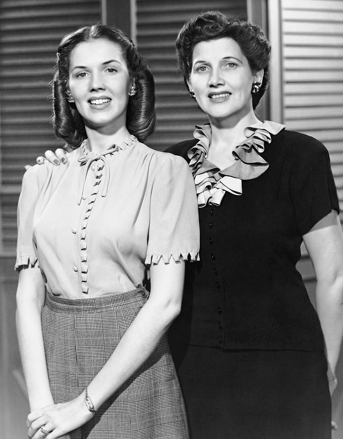 Adult Photograph - Portrait Of Mother And Daughter by George Marks