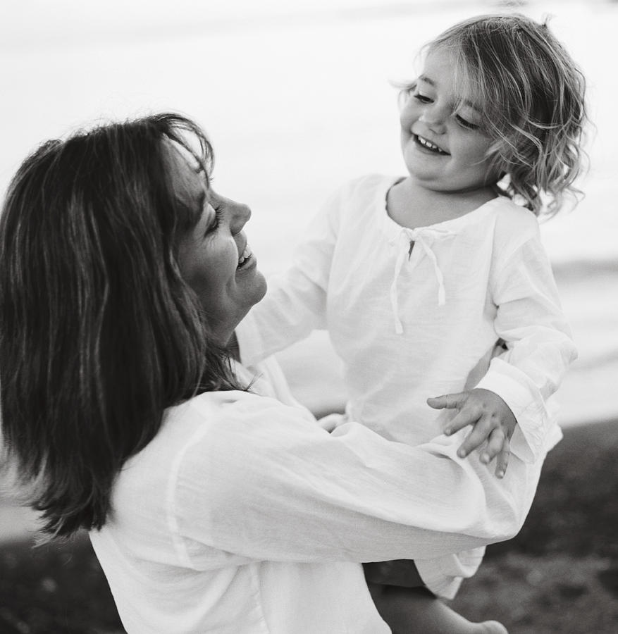 Adult Photograph - Portrait Of Mother And Daughter by Michelle Quance