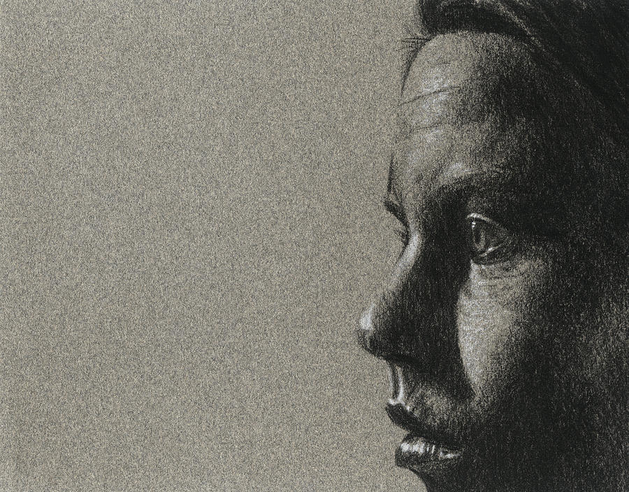 Charcoal Drawing - Portrait Of S by David Kleinsasser