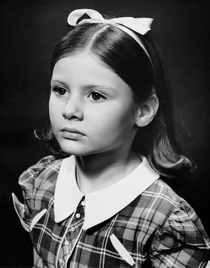 Child Photograph - Portrait Of Sad Young Girl by George Marks