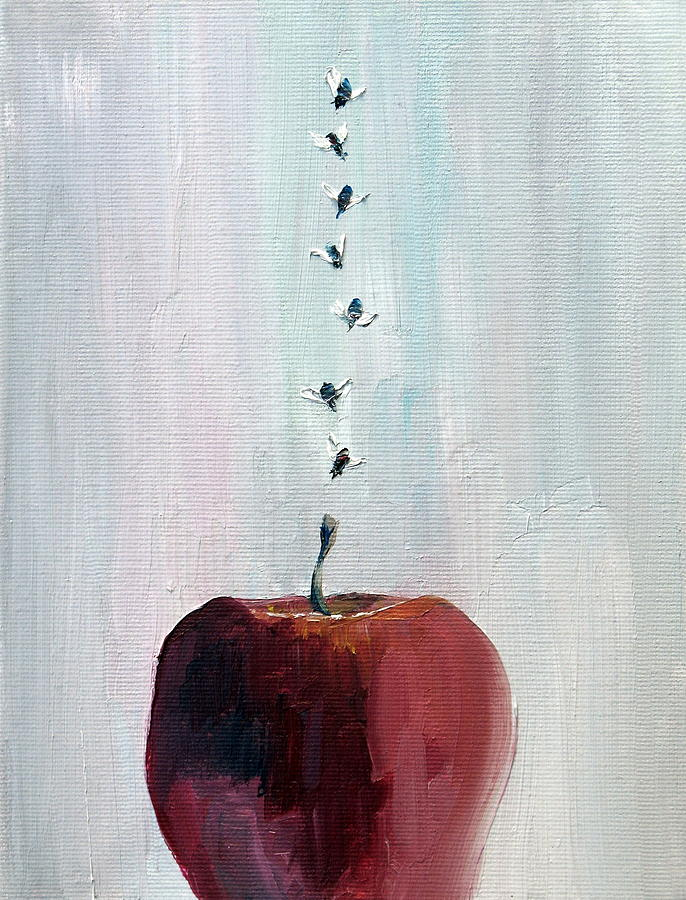 Apple Painting - Portrait Of Seven Flies Flying Over An Apple by Fabrizio Cassetta