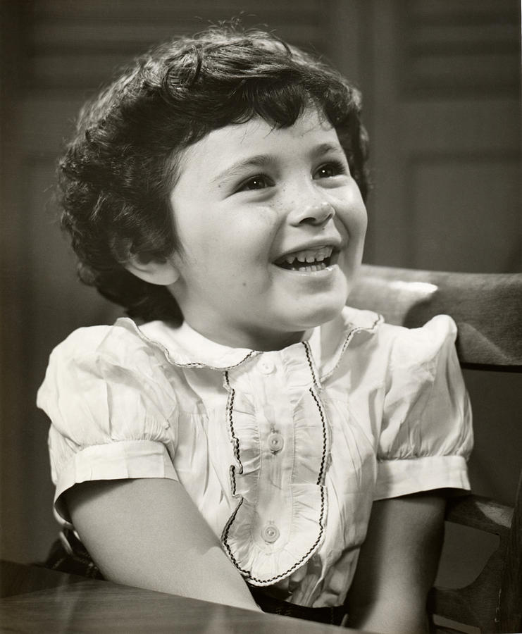 Child Photograph - Portrait Of Smiling Little Girl by George Marks
