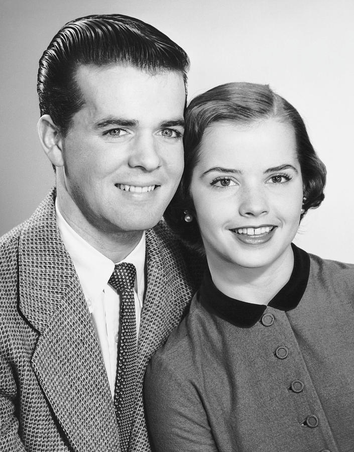 Adult Photograph - Portrait Of Teenage Couple by George Marks