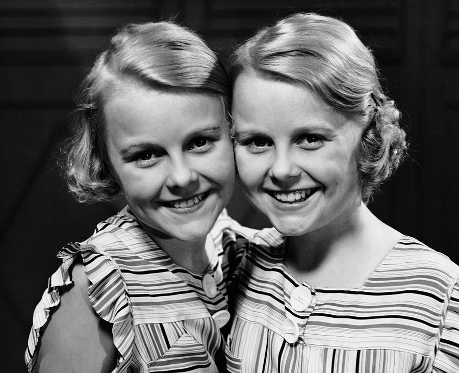 Child Photograph - Portrait Of Twin Girls Indoor by George Marks