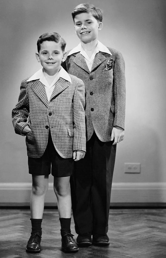 Child Photograph - Portrait Of Two Boys Indoor by George Marks