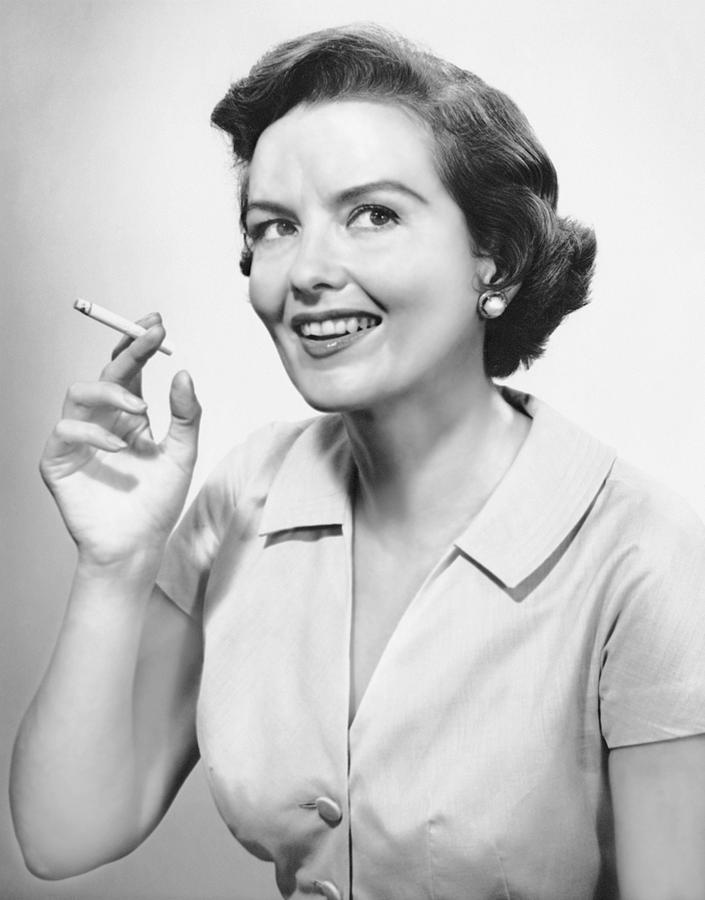 Adults Only Photograph - Portrait Of Woman Holding Cigarettte by George Marks