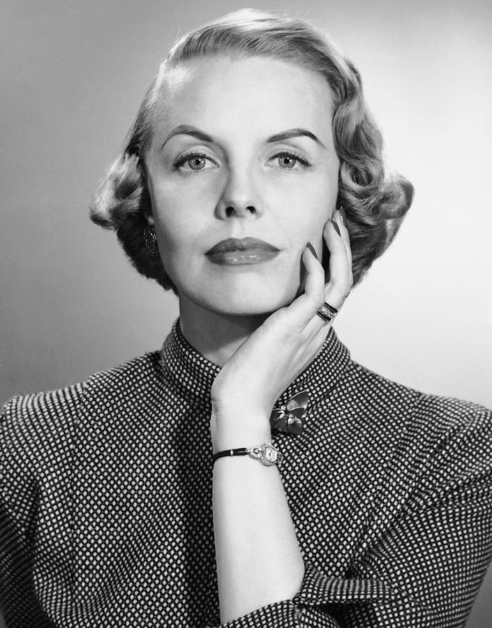 Adult Photograph - Portrait Of Woman With Wrist Watch & Ring by George Marks
