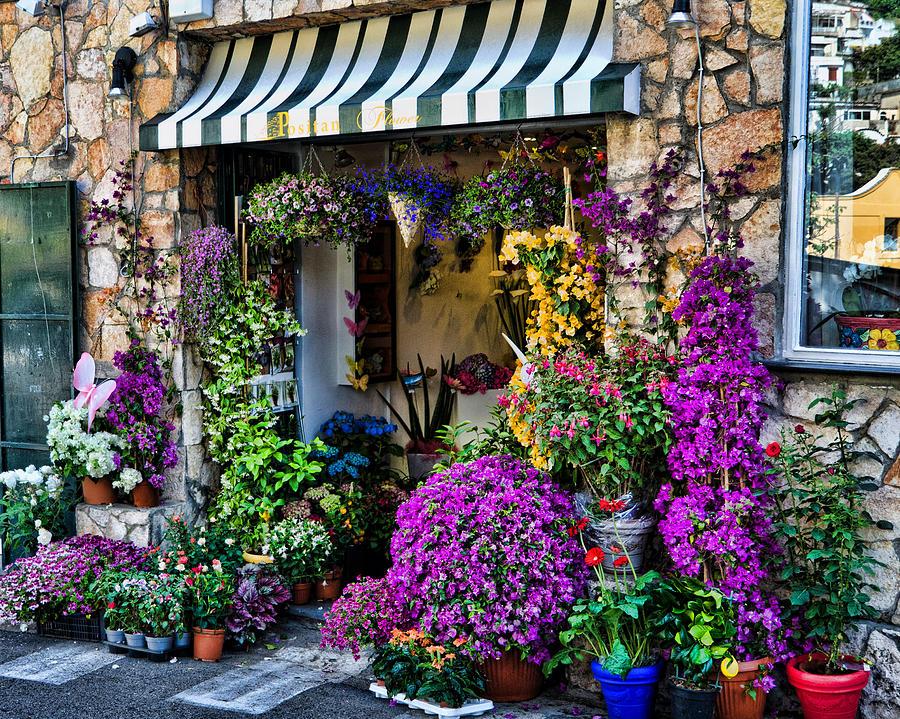 Positano Italy Photograph - Positano Flower Shop by Jon Berghoff
