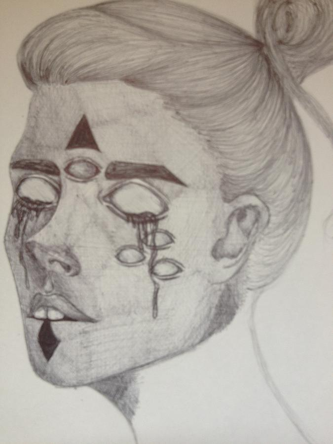 Eyes Drawing - Possession by Rochelle Roberts