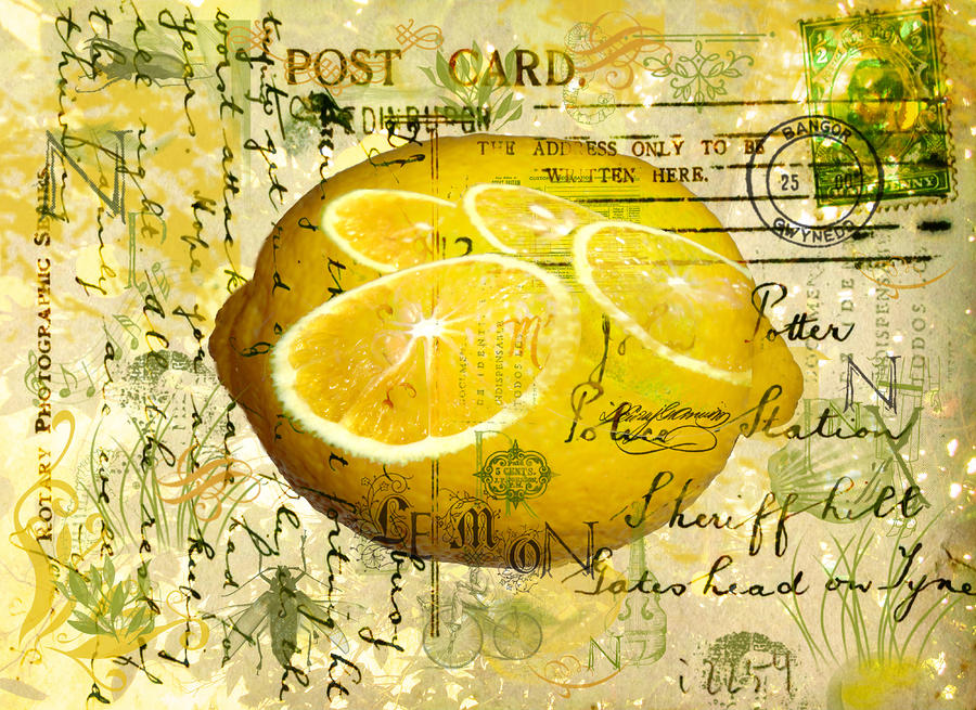 Yellow Digital Art - Postcard Lemons by Sarah Vernon