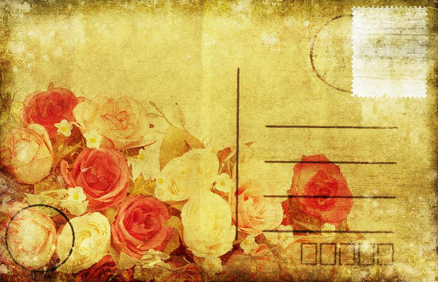 Address Photograph - Postcard With Floral Pattern by Setsiri Silapasuwanchai