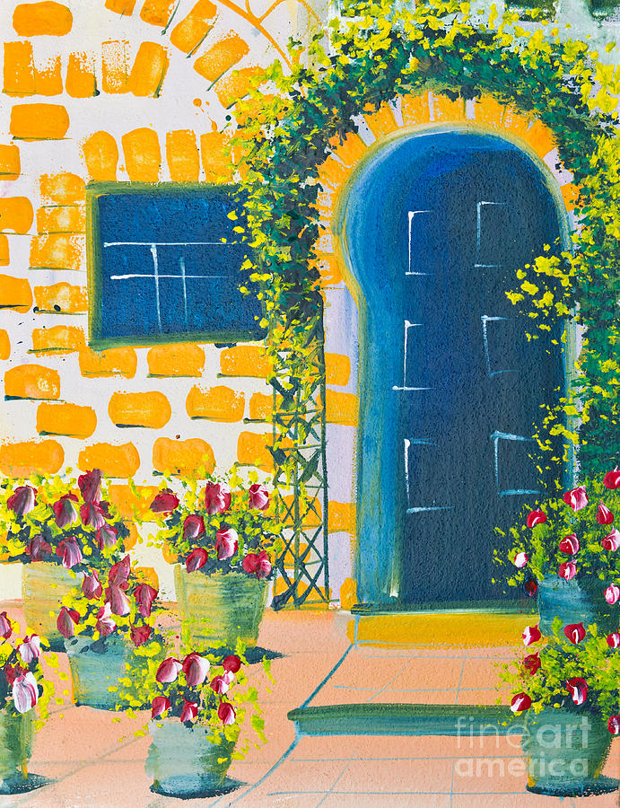 Acrylic Drawing - Poster Color Drawing Door And Flowers by Mongkol Chakritthakool