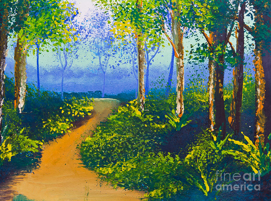 Acrylic Drawing - Poster Color Drawing Walk Way In Forest by Mongkol Chakritthakool