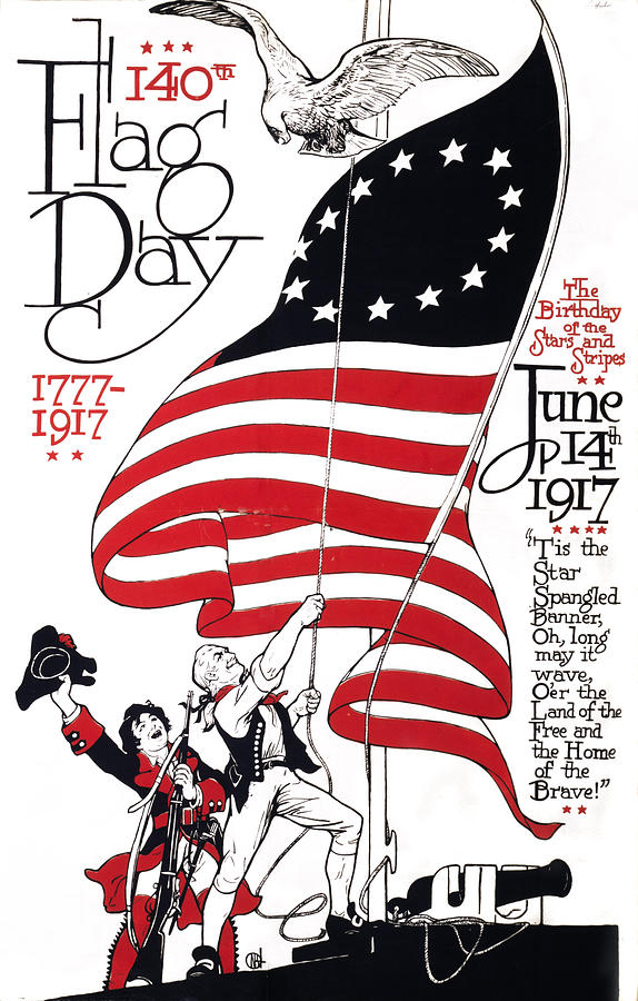 1910s Photograph - Poster For 140th Flag Day, 1777-1917 by Everett