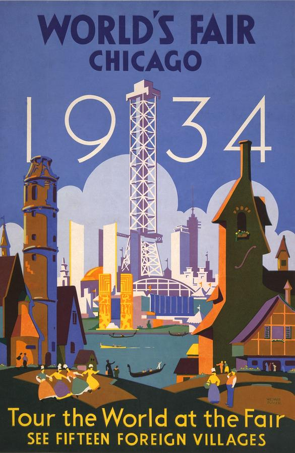 History Photograph - Poster For The 1934 Chicago Worlds Fair by Everett