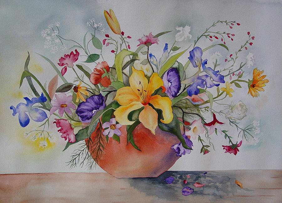 Pot Of Flowers Painting By Arleen Spears
