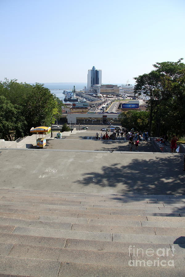 Potemkin Stairs Photograph - Potemkin Stairs And Passenger Terminal - Odessa by Christiane Schulze Art And Photography
