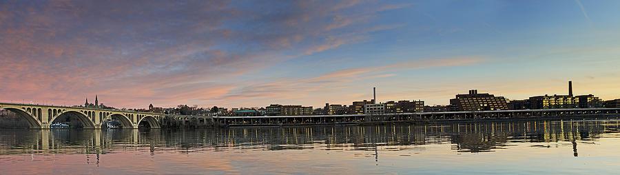 key Bridge  Photograph - Potomac River Panorama - Washington Dc by Brendan Reals