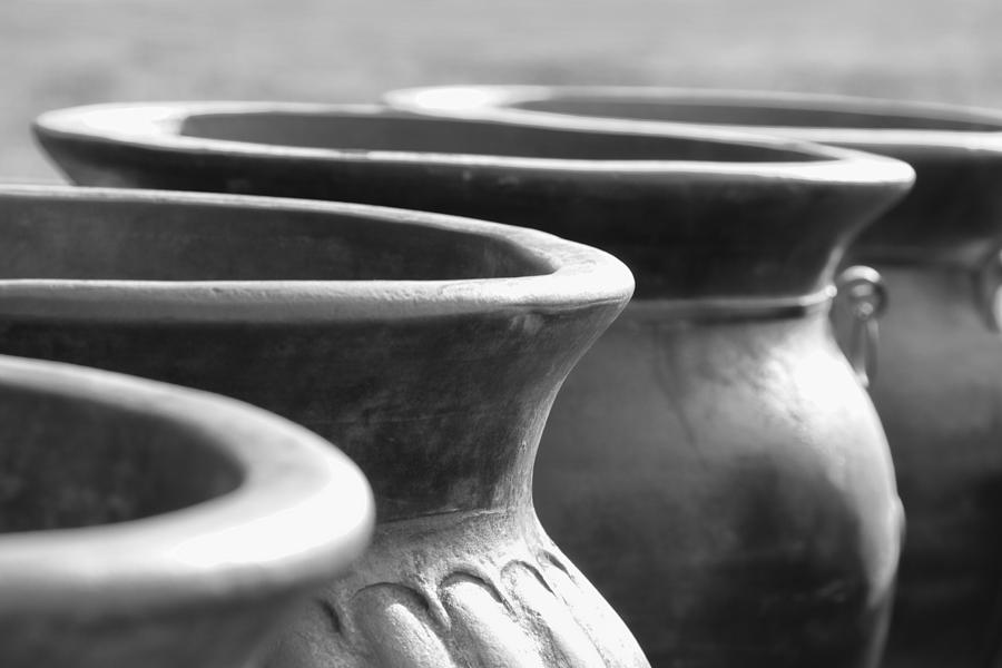 Terracotta Photograph - Pots In Black And White by Kathy Clark
