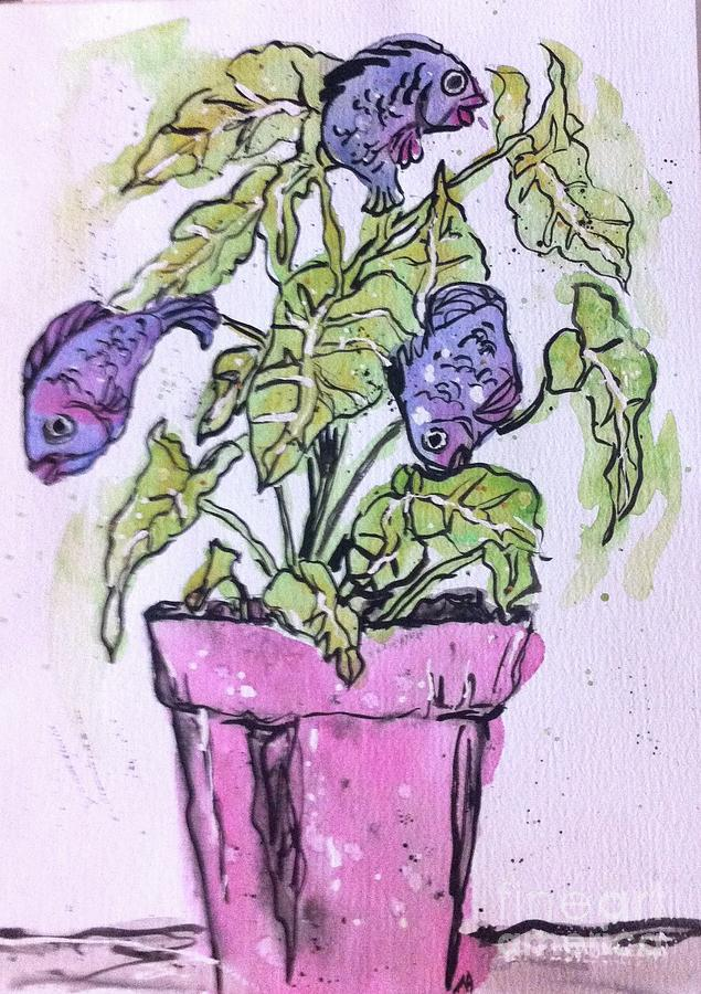 Fun Painting - Potted Fish by Norma Gafford