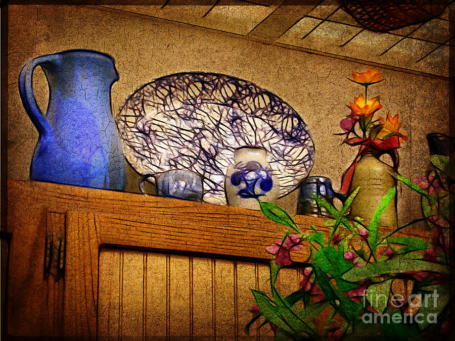 Blue Photograph - Pottery Still Life by Judi Bagwell