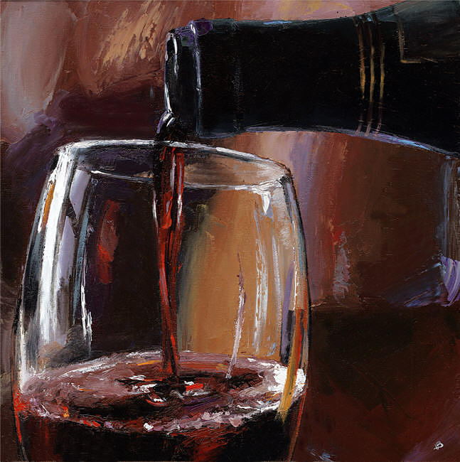 Pouring wine 18 painting by victor bauer for Paint vino