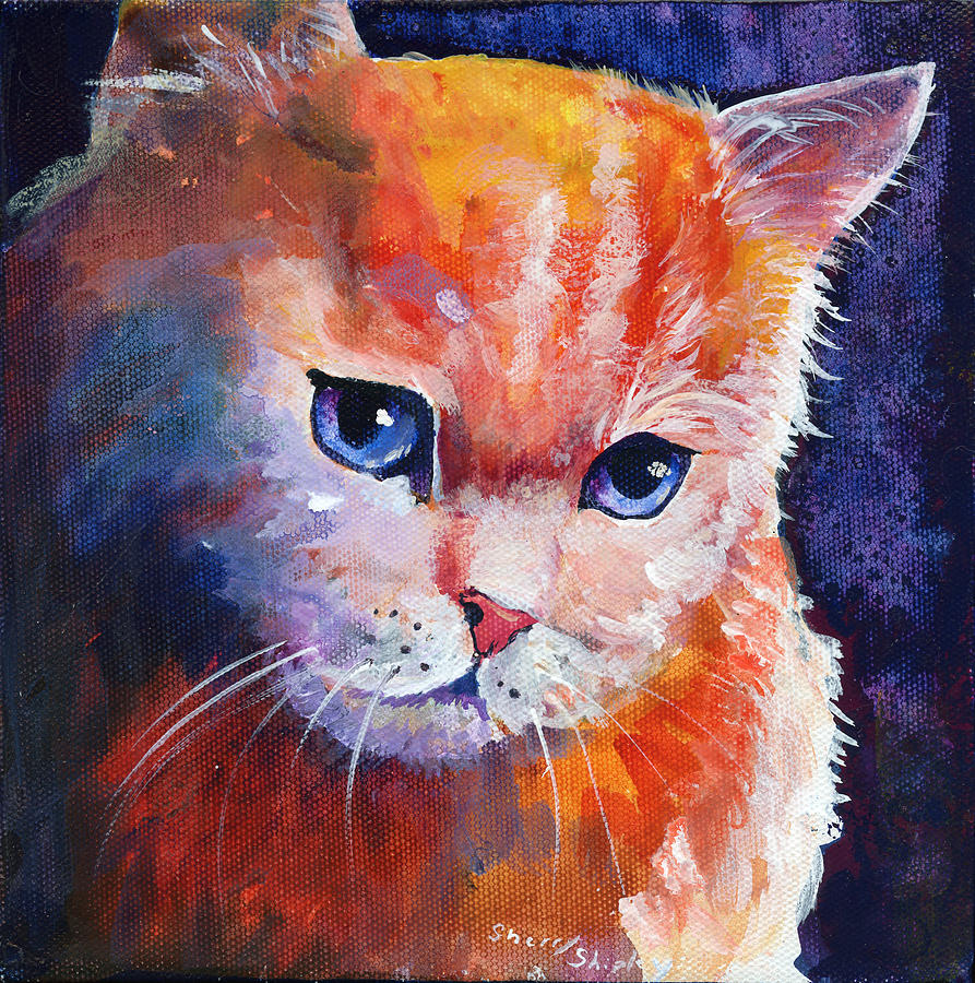 Cat Painting - Pouting Kitty by Sherry Shipley
