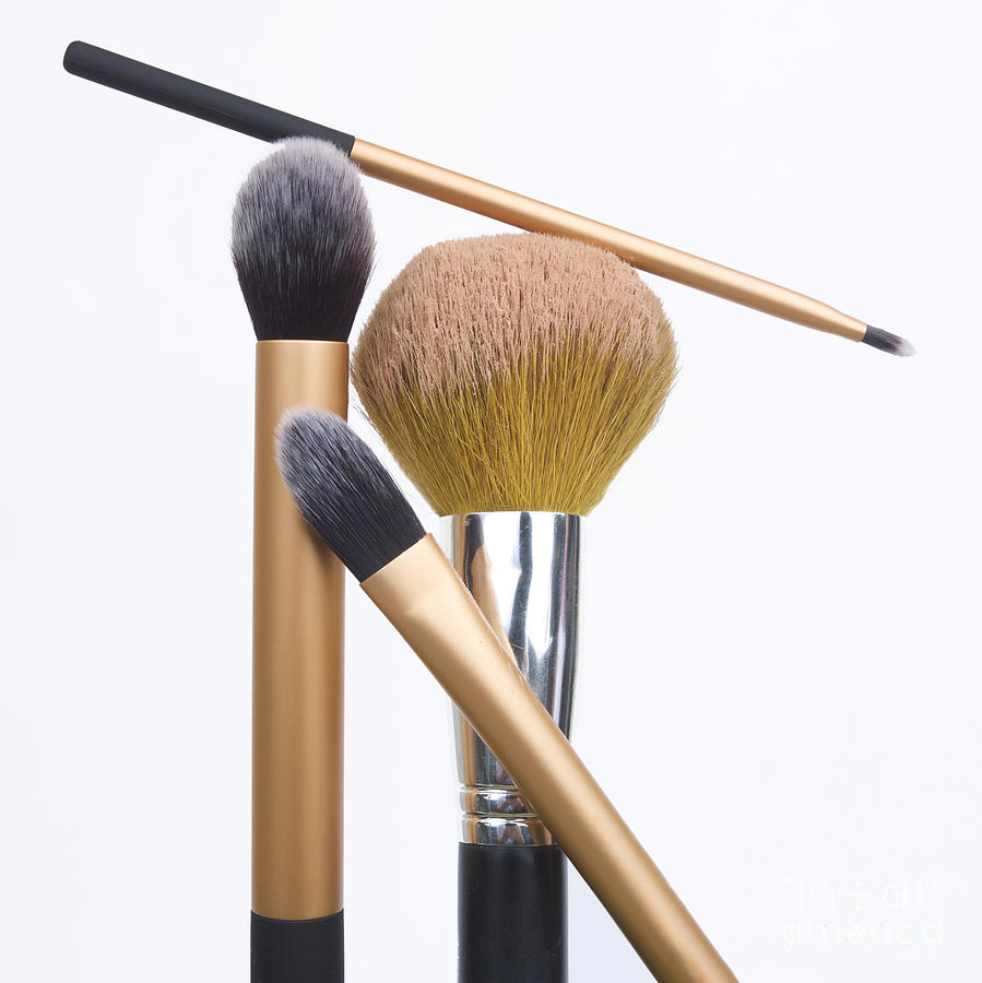 Square Photograph - Powder And Make-up Brushes by Bernard Jaubert