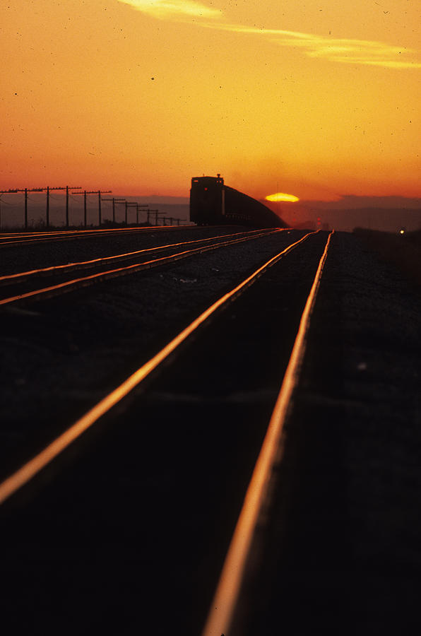 Trains Photograph - Powder River Sunset Caboose by Susan  Benson
