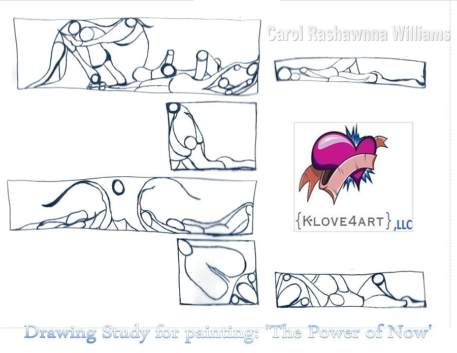 Figures Drawing - Power Of Now Study by Carol Rashawnna Williams