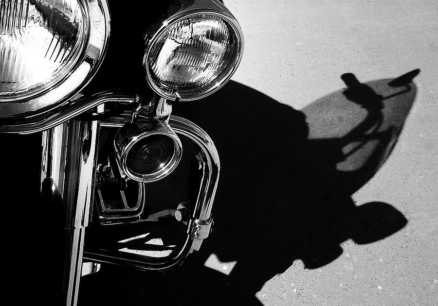 Black And White Photography Photograph - Power Shadow - Harley Davidson Road King by Steven Milner