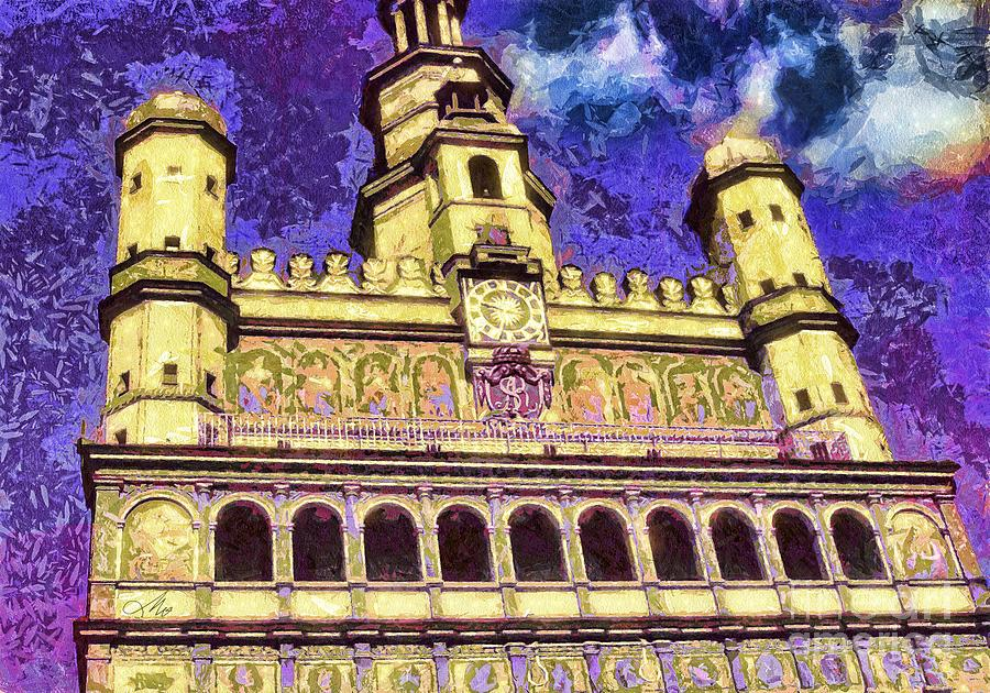 City Hall Mixed Media - Poznan City Hall by Mo T