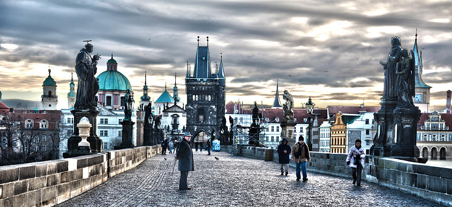 Bridge Pyrography - Prague Bridge by Thomas Kessler