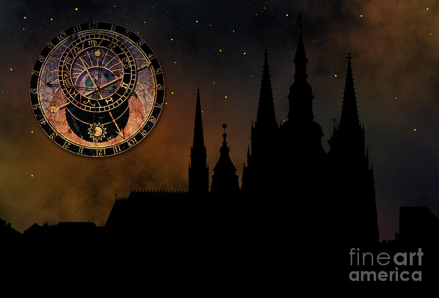 Hradcany Digital Art - Prague Casle - Cathedral Of St Vitus - Monuments Of Mysterious C by Michal Boubin