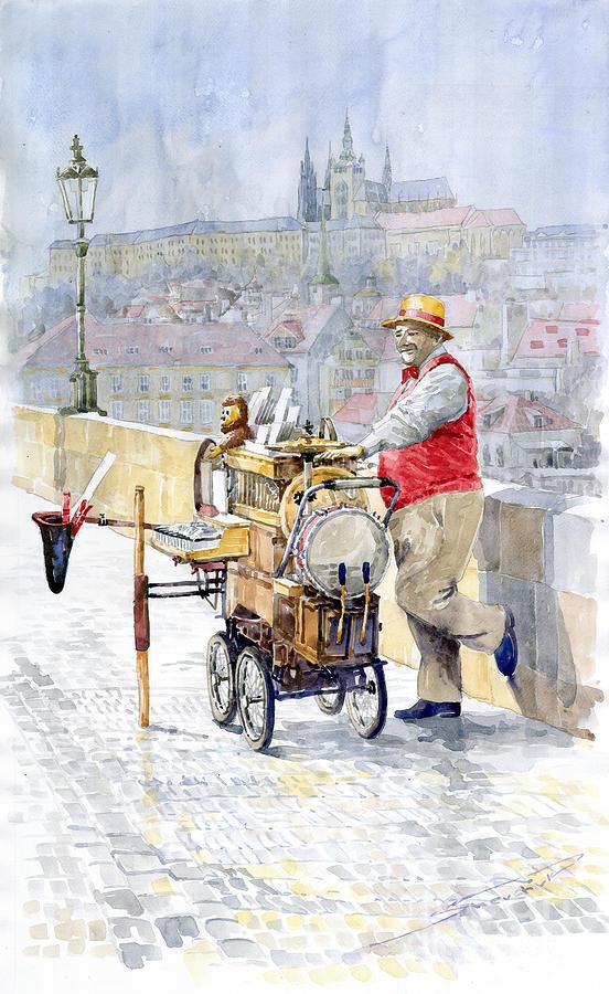 Watercolor Painting - Prague Charles Bridge Organ Grinder-seller Happiness  by Yuriy  Shevchuk