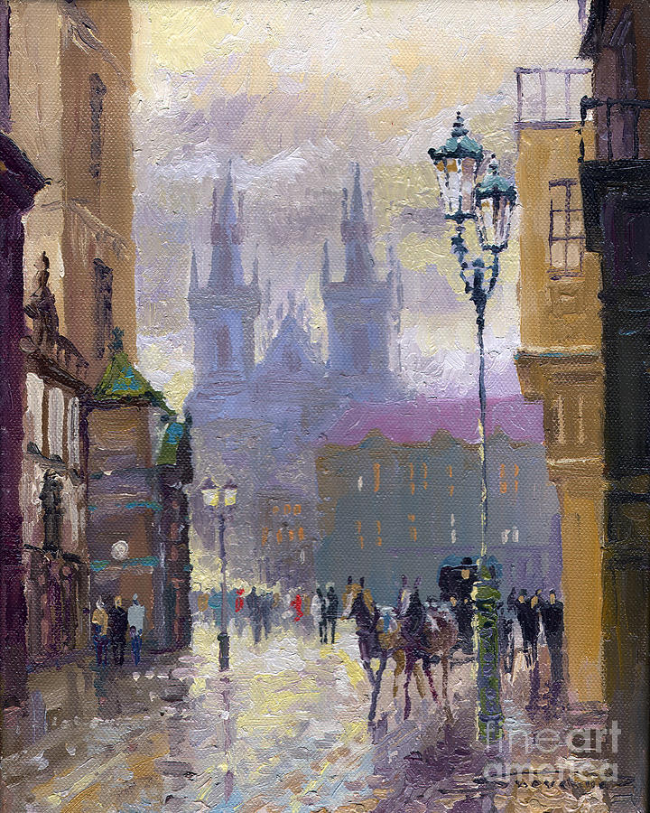 Oil On Canvas Painting - Prague Old Town Square  by Yuriy  Shevchuk