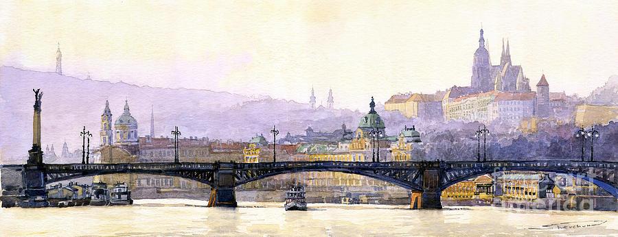 Watercolor Painting - Prague Panorama Cechuv Bridge Variant by Yuriy  Shevchuk