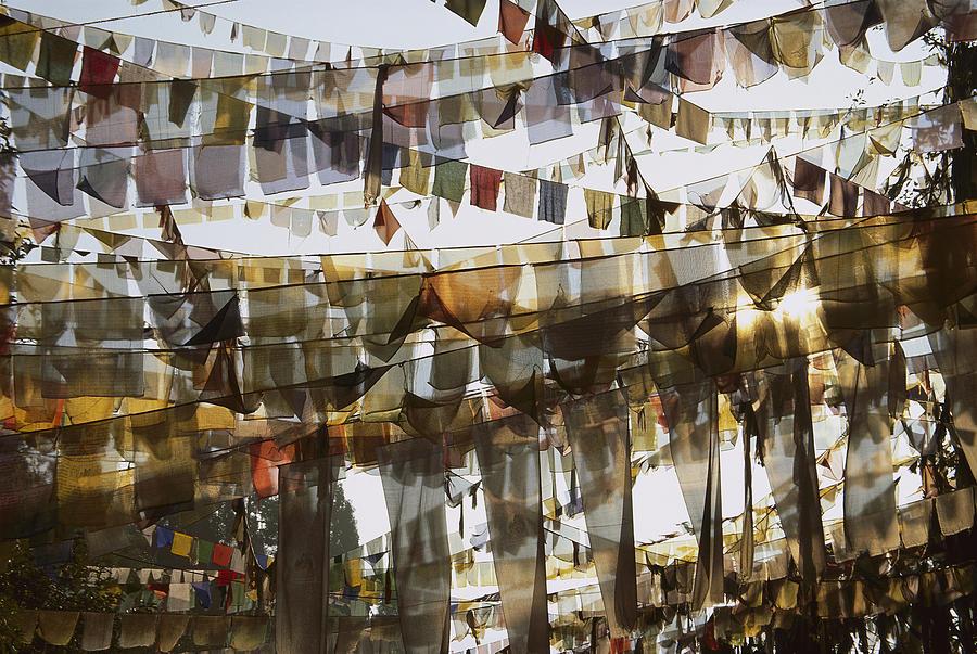 Prayer Flags At Dawn, Ganesh Top Photograph by Colin Monteath