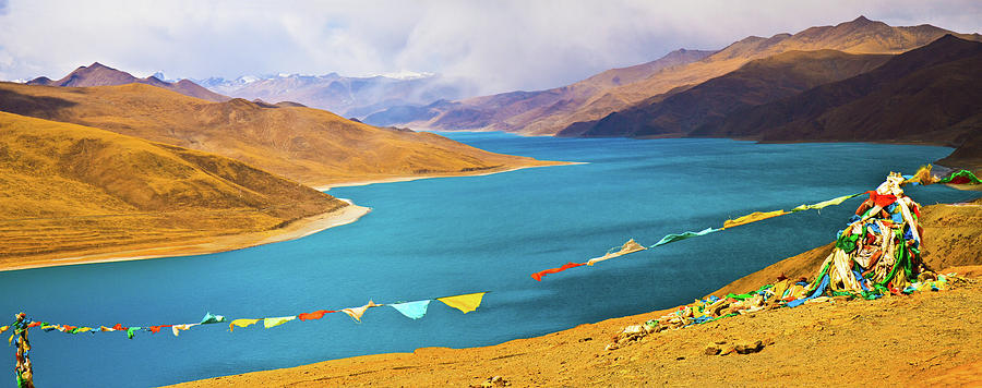 Horizontal Photograph - Prayer Flags By Yamdok Yumtso Lake, Tibet by Feng Wei Photography