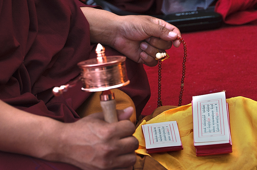 Budhism Photograph - Prayer Time by Mukesh Srivastava