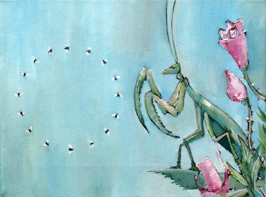 Praying Painting - Praying Mantis And Flies In Circle by Fabrizio Cassetta