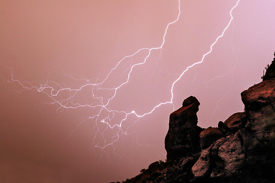 Arizona Photograph - Praying Monk Camelback Mountain Lightning Monsoon Storm Image by James BO  Insogna