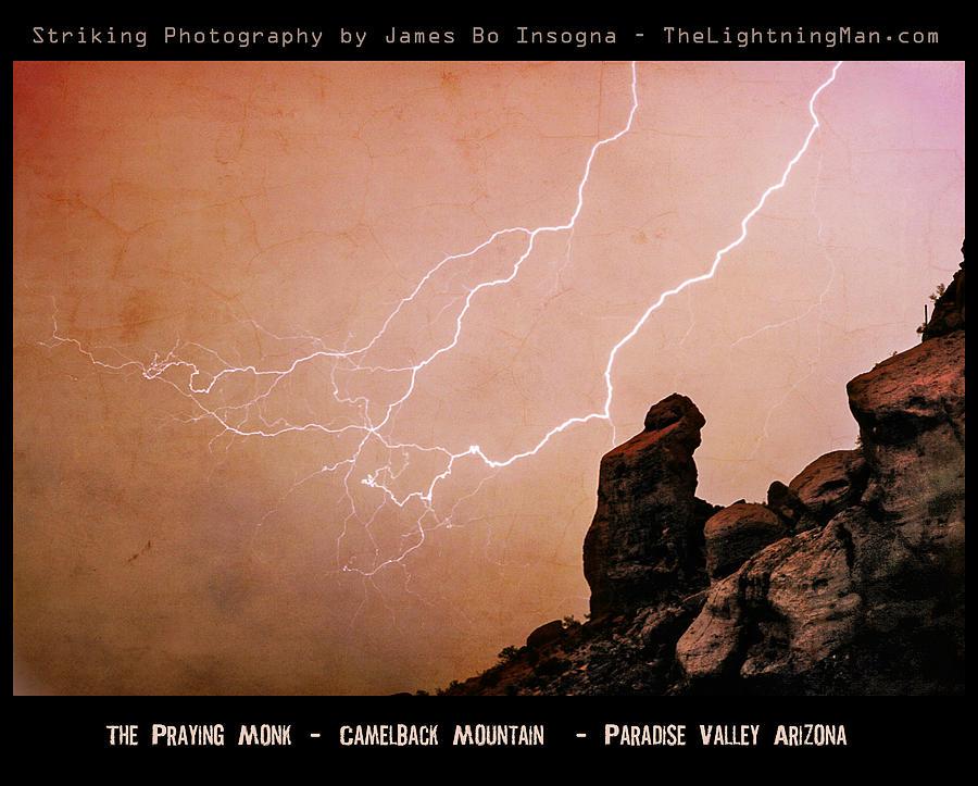 Arizona Photograph - Praying Monk Camelback Mountain Lightning Monsoon Storm Image Tx by James BO  Insogna