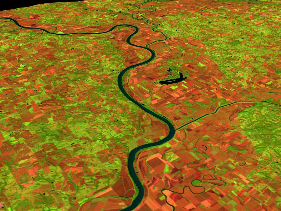 Satellite Image Photograph - Pre-flood Missouri River by Nasagoddard Space Flight Center