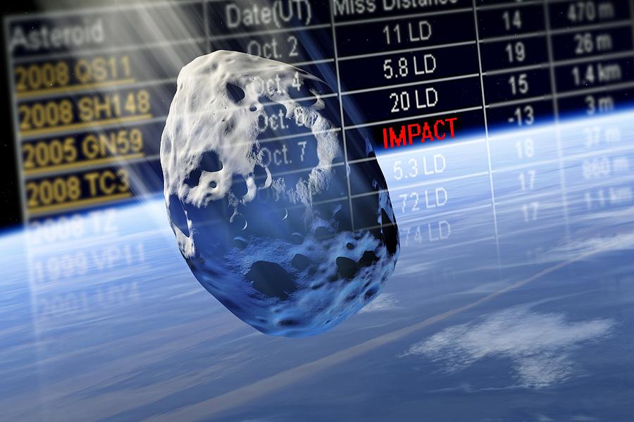 Earth Photograph - Predicting Asteroid Impact, Artwork by Detlev Van Ravenswaay