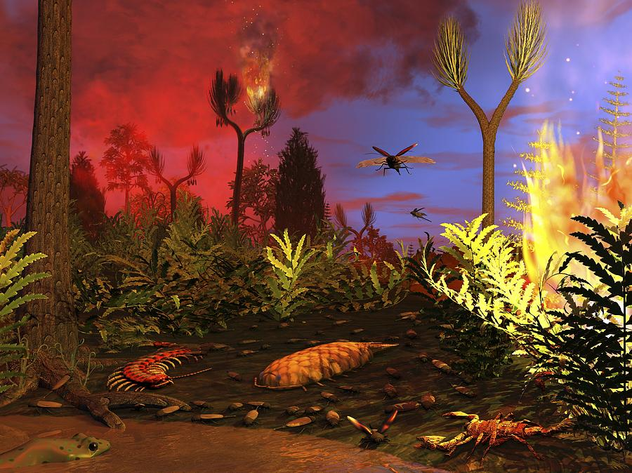 Animal Photograph - Prehistoric Forest Fire, Artwork by Walter Myers