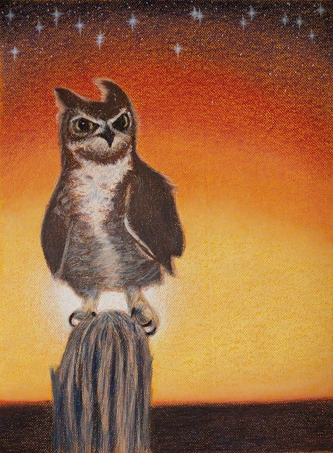 Owl Pastel - Preparing For The Hunt by Thomas Maynard