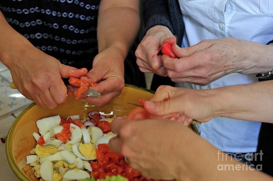 People Photograph - Preparing Salad by Sami Sarkis